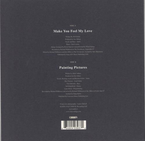 "Adele Make You Feel My Love 7"" vinyl single (7 inch record) UK AYX07MA450548"