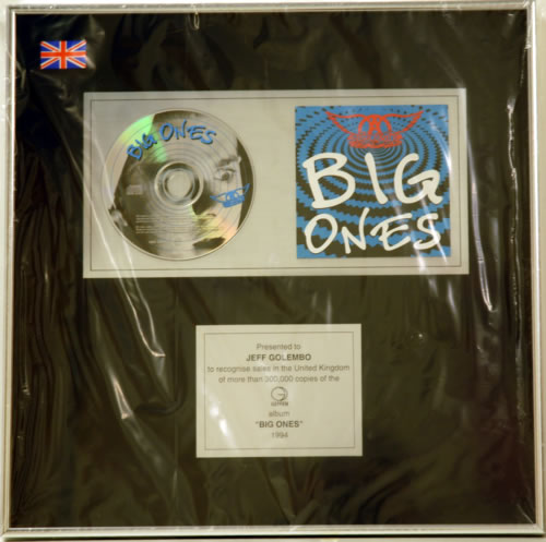 Aerosmith Big Ones award disc UK AERAWBI245389