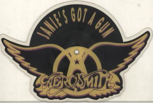 Aerosmith Janie's Got A Gun shaped picture disc (picture disc vinyl record) UK AERSHJA56490