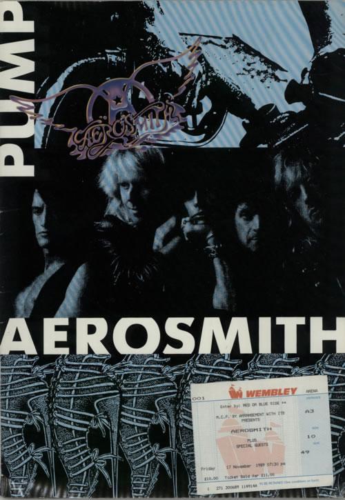 Aerosmith Pump + Ticket Stub tour programme UK AERTRPU615423