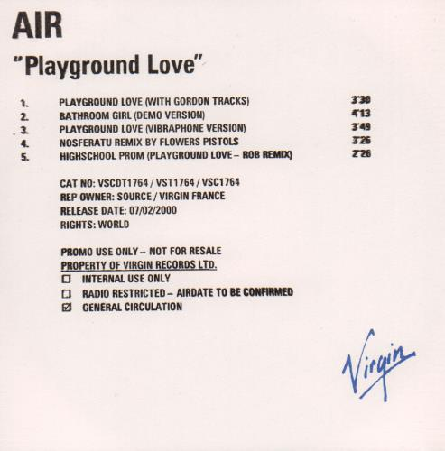 "Air (French) Playground Love CD single (CD5 / 5"") UK AIRC5PL653341"