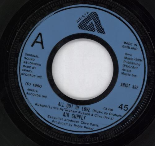 """Air Supply All Out Of Love - Wide 7"""" vinyl single (7 inch record) UK AIS07AL768785"""