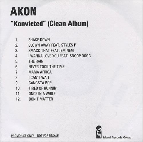Akon Konvicted - Clean Album UK Promo CD-R acetate (411553)