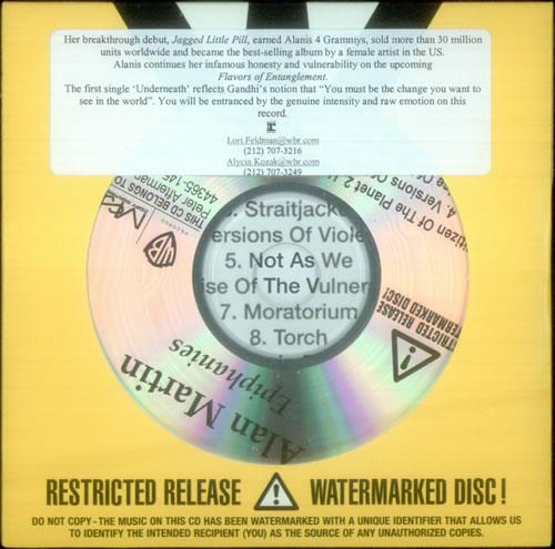 Alanis Morissette Epiphanies CD-R acetate US ANSCREP543627