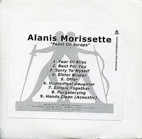 Alanis Morissette Feast On Scraps CD-R acetate US ANSCRFE299402