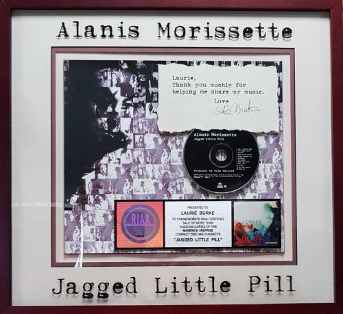 Alanis Morissette Jagged Little Pill - AUTOGRAPHED award disc US ANSAWJA324381
