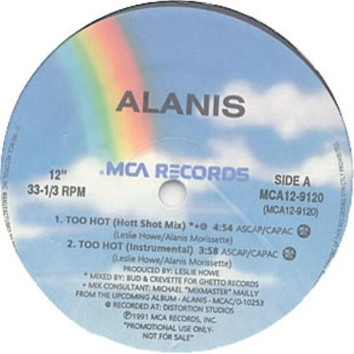 "Alanis Morissette Too Hot 12"" vinyl single (12 inch record / Maxi-single) Canadian ANS12TO94440"