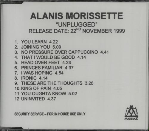 Alanis Morissette Unplugged CD-R acetate UK ANSCRUN147746