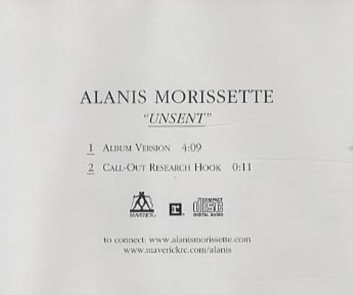 """Alanis Morissette Unsent CD single (CD5 / 5"""") Colombian ANSC5UN334754"""