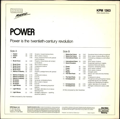 Alan Hawkshaw Power vinyl LP album (LP record) UK F8WLPPO691397