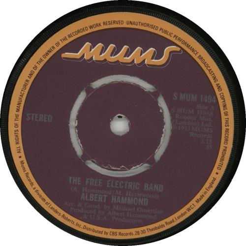 "Albert Hammond The Free Electric Band - 4pr 7"" vinyl single (7 inch record) UK ALH07TH569825"