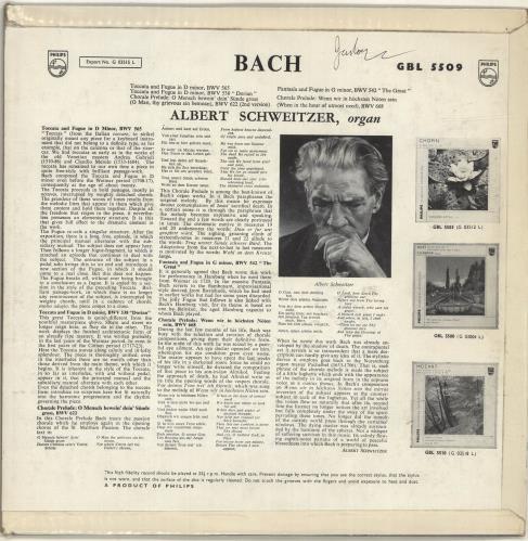 Albert Schweitzer Bach vinyl LP album (LP record) UK QMCLPBA700157
