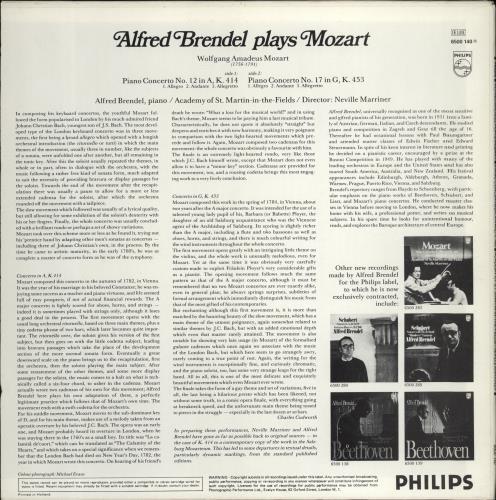 Alfred Brendel Alfred Brendel Plays Mozart - Piano Concertos K. 414 And K. 453 vinyl LP album (LP record) UK F6GLPAL767334