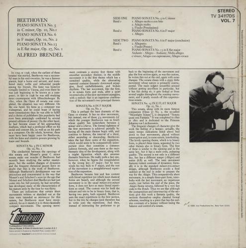 Alfred Brendel Beethoven: Piano Sonatas Vol. 7 vinyl LP album (LP record) UK F6GLPBE760049