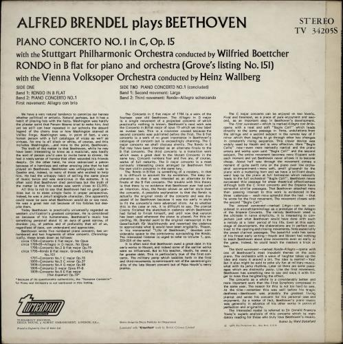 Alfred Brendel Brendel Plays Beethoven vinyl LP album (LP record) UK F6GLPBR764514