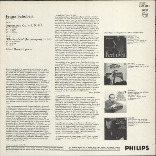 Alfred Brendel Franz Schubert: Impromptus Op.142, D.935 / Klavierstücke (Impromptus) D.946 vinyl LP album (LP record) Dutch F6GLPFR772402