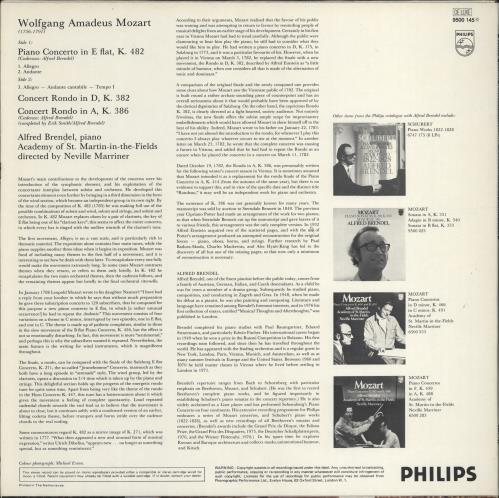 Alfred Brendel Mozart: Piano Concerto in E Flat, K.482 / Rondos, K.382 and K.386 vinyl LP album (LP record) Dutch F6GLPMO772454