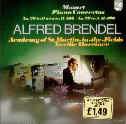 Alfred Brendel Mozart: Piano Concerto No. 20 in D minor, K.466 & No. 23 in A, K.488 vinyl LP album (LP record) Dutch F6GLPMO535101