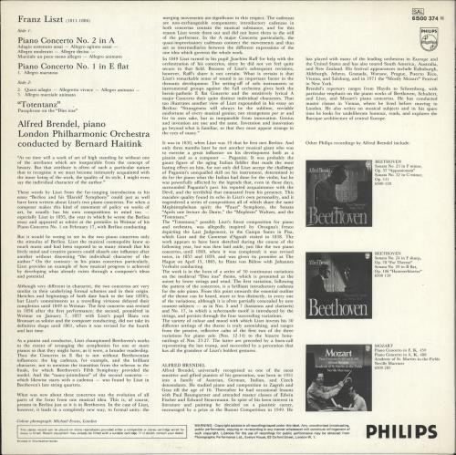 "Alfred Brendel Piano Concertos Nos. 1 & 2 And ""Totentanz"" vinyl LP album (LP record) UK F6GLPPI725971"