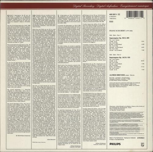 Alfred Brendel Schubert: Impromptus Op.90 & Op.142 vinyl LP album (LP record) Dutch F6GLPSC772285