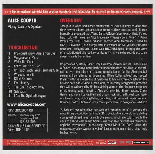 Alice Cooper Along Came A Spider CD album (CDLP) German COOCDAL445644