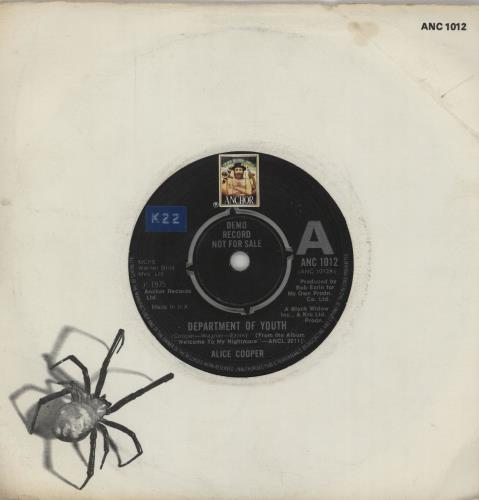 "Alice Cooper Department Of Youth - A Label 7"" vinyl single (7 inch record) UK COO07DE240206"