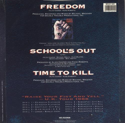 "Alice Cooper Freedom 12"" vinyl single (12 inch record / Maxi-single) UK COO12FR747607"