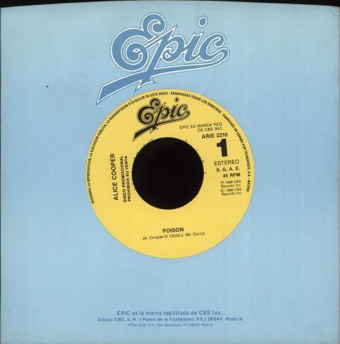 "Alice Cooper Poison 7"" vinyl single (7 inch record) Spanish COO07PO727400"