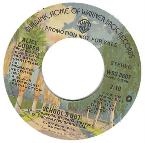 "Alice Cooper Schools Out 7"" vinyl single (7 inch record) US COO07SC391216"
