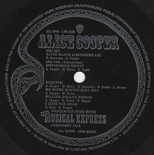 "Alice Cooper Slick Black Limousine 7"" vinyl single (7 inch record) UK COO07SL87341"