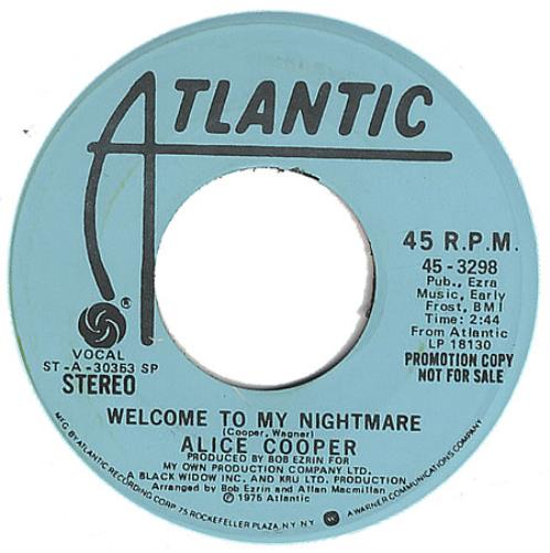 """Alice Cooper Welcome To My Nightmare 7"""" vinyl single (7 inch record) US COO07WE391214"""