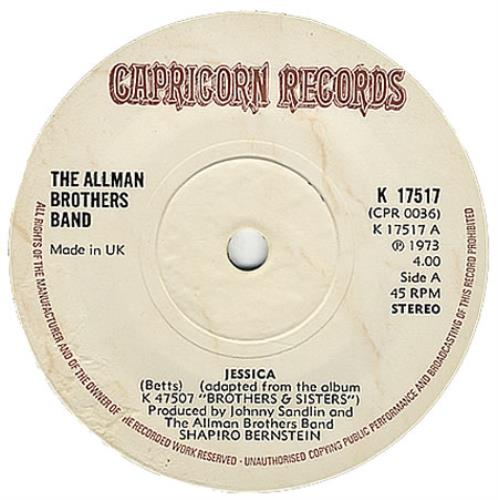 "Allman Brothers Band Jessica - Solid 7"" vinyl single (7 inch record) UK ABR07JE405708"