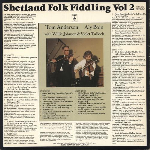 Aly Bain Shetland Folk Fiddling Vol 2 UK vinyl LP album (LP