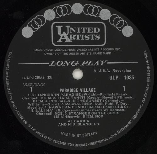 Al Caiola Paradise Village vinyl LP album (LP record) UK AJ4LPPA643179