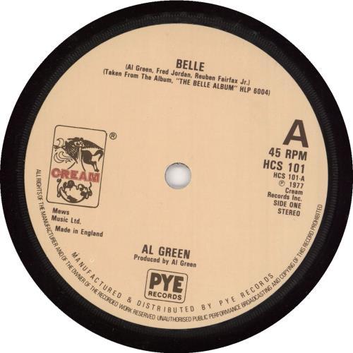 "Al Green Belle 7"" vinyl single (7 inch record) UK AEE07BE740986"