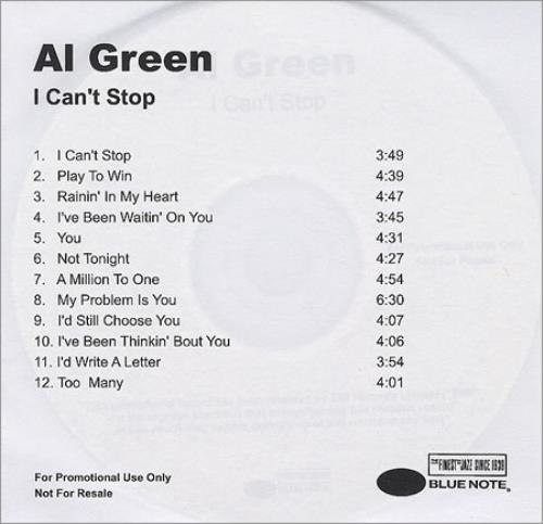 Al Green I Can't Stop - plain sleeve CD-R acetate UK AEECRIC263821