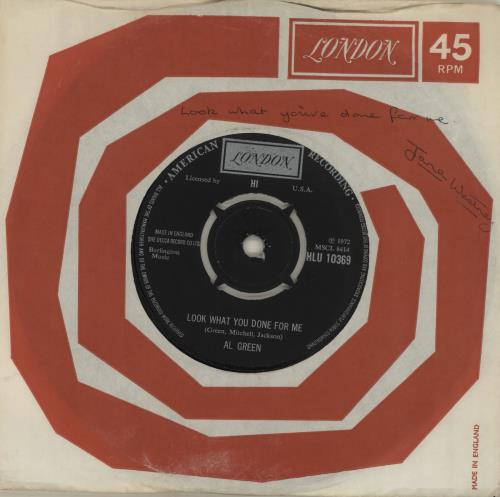 """Al Green Look What You Done For Me 7"""" vinyl single (7 inch record) UK AEE07LO570163"""