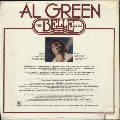 Al Green The Belle Album - Deletion Cut + Shrink vinyl LP album (LP record) US AEELPTH743136