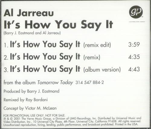 "Al Jarreau It's How You Say It CD single (CD5 / 5"") US AJRC5IT520979"