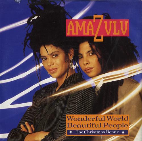 """Amazulu Wonderful World Beautiful People - Poster sleeve 7"""" vinyl single (7 inch record) UK AZU07WO559585"""