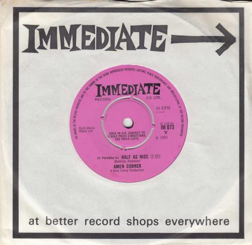 "Amen Corner (If Paradise Is) Half As Nice - 4 Prong 7"" vinyl single (7 inch record) UK AMC07IF555632"