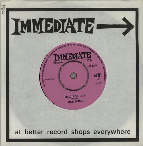 "Amen Corner Hello Susie 7"" vinyl single (7 inch record) UK AMC07HE298952"