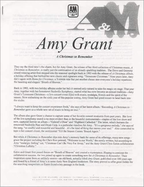 Amy Grant A Christmas To Remember media press pack US GRAPPAC149930