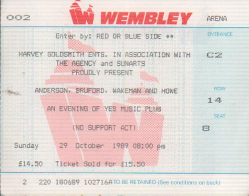 Anderson Bruford Wakeman Howe An Evening Of Yes Music + Ticket Stub tour programme UK ABWTRAN27817