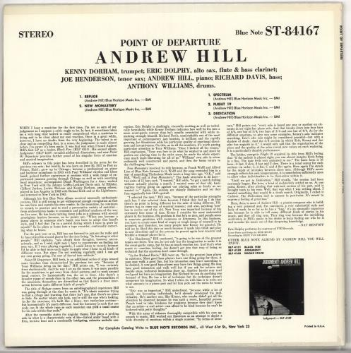 Andrew Hill Point Of Departure - Division Of Liberty vinyl LP album (LP record) US A2TLPPO583567
