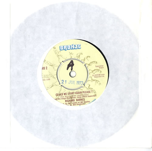 """Andrew Lloyd Webber & Tim Rice Could We Start Again Please ? 7"""" vinyl single (7 inch record) UK A6H07CO617876"""