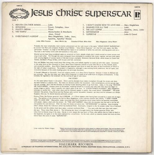Andrew Lloyd Webber & Tim Rice Jesus Christ Superstar (Excerpts From The Rock Opera) vinyl LP album (LP record) UK A6HLPJE721189