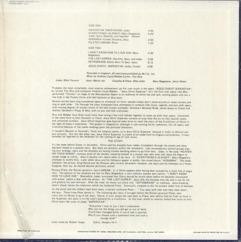 Andrew Lloyd Webber & Tim Rice Musical Excerpts From The Rock Opera Jesus Christ Superstar vinyl LP album (LP record) Canadian A6HLPMU730916