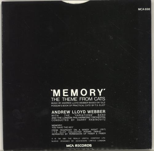 "Andrew Lloyd Webber Memory (Theme From The Musical ""Cats"") 7"" vinyl single (7 inch record) UK ALW07ME696689"