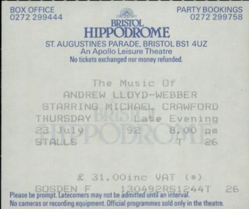 Andrew Lloyd Webber The Music Of Andrew Lloyd Webber 1992 Tour + Ticket Stub tour programme UK ALWTRTH586988